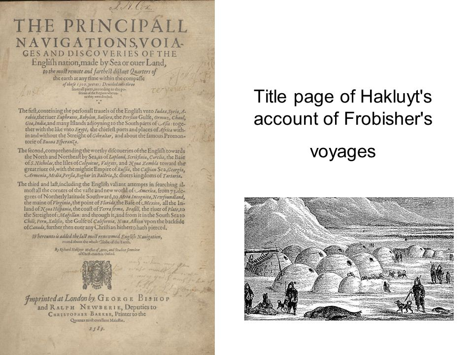Title page of Hakluyt s account of Frobisher s voyages