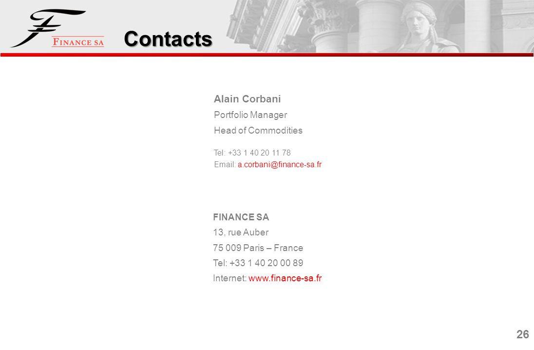 26 Contacts Alain Corbani Portfolio Manager Head of Commodities Tel: +33 1 40 20 11 78 Email: a.corbani@finance-sa.fr FINANCE SA 13, rue Auber 75 009 Paris – France Tel: +33 1 40 20 00 89 Internet: www.finance-sa.fr