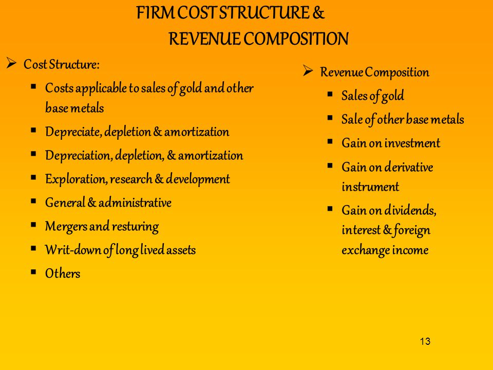 13 FIRM COST STRUCTURE & REVENUE COMPOSITION Cost Structure: Costs applicable to sales of gold and other base metals Depreciate, depletion & amortizat