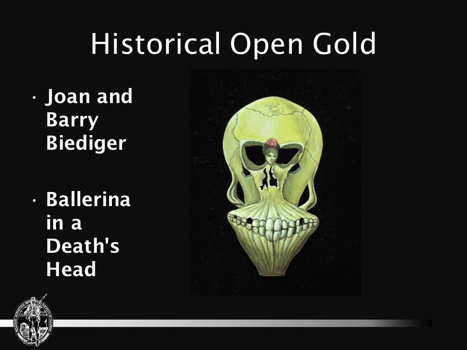 Historical Open Gold Joan and Barry Biediger Ballerina in a Death's Head