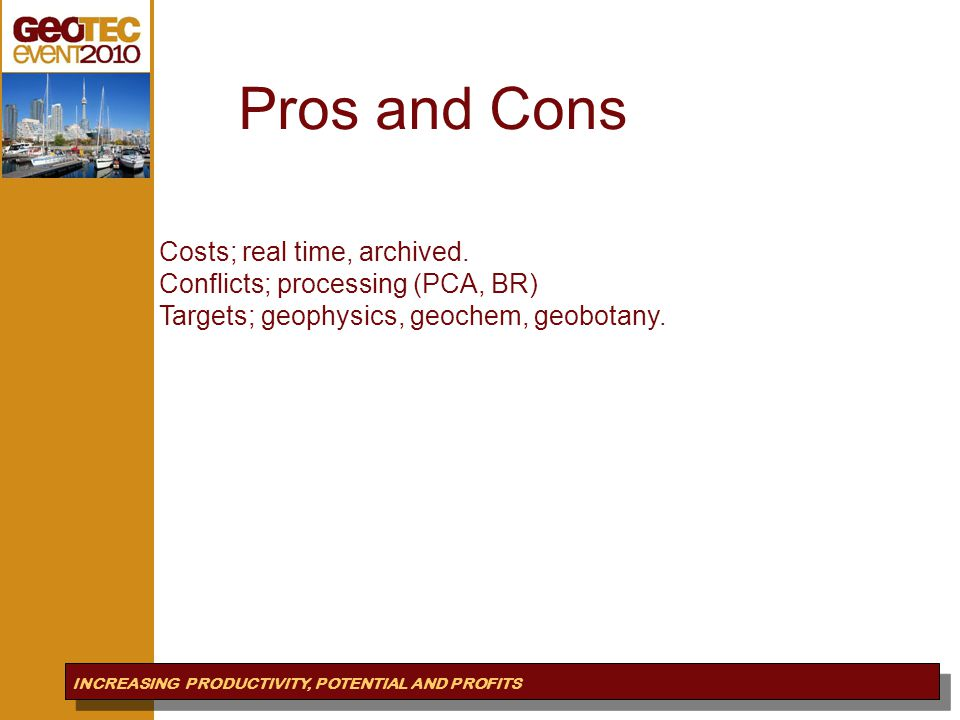 Pros&Cons Pros and Cons INCREASING PRODUCTIVITY, POTENTIAL AND PROFITS Costs; real time, archived.