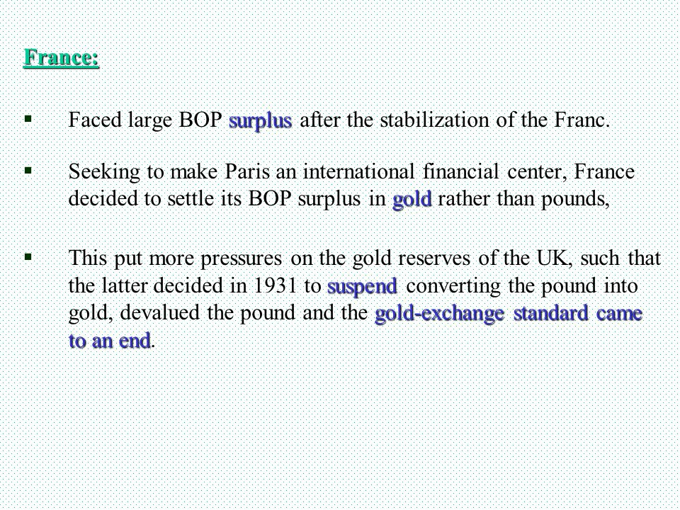 France: Faced large BOP surplus after the stabilization of the Franc. Faced large BOP surplus after the stabilization of the Franc. Seeking to make Pa