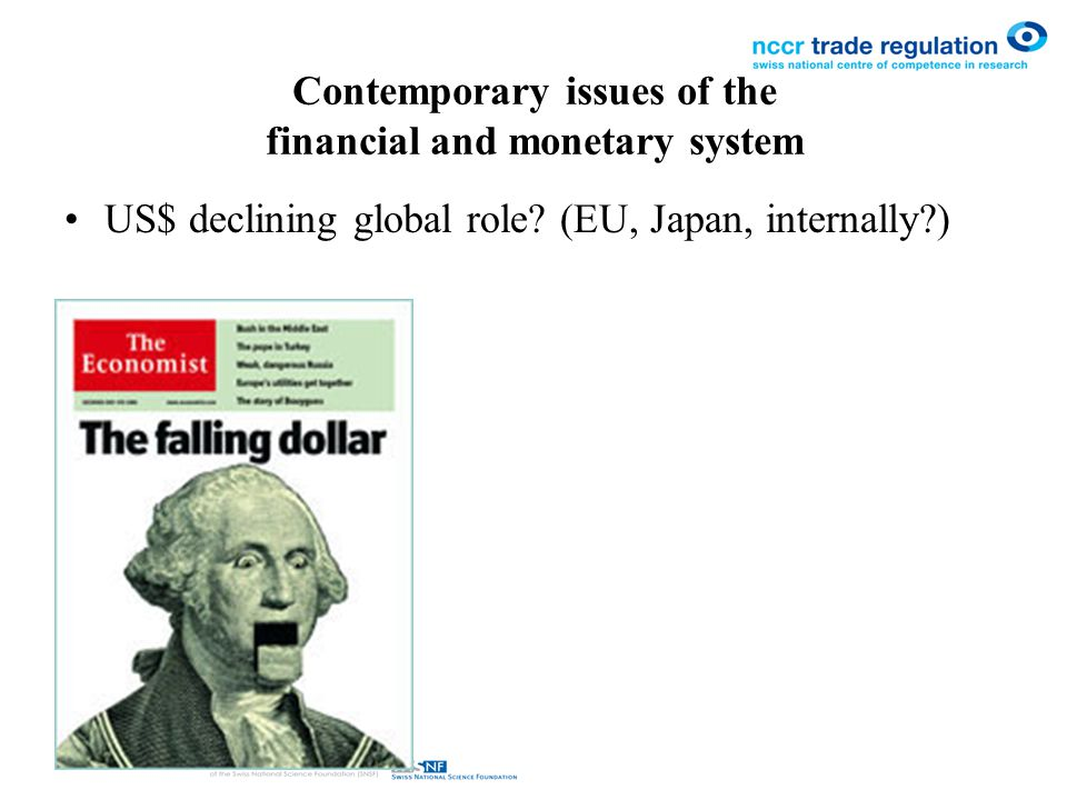 Contemporary issues of the financial and monetary system US$ declining global role.