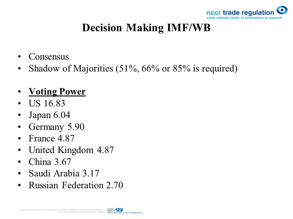 Decision Making IMF/WB Consensus Shadow of Majorities (51%, 66% or 85% is required) Voting Power US 16.83 Japan 6.04 Germany 5.90 France 4.87 United Kingdom 4.87 China 3.67 Saudi Arabia 3.17 Russian Federation 2.70