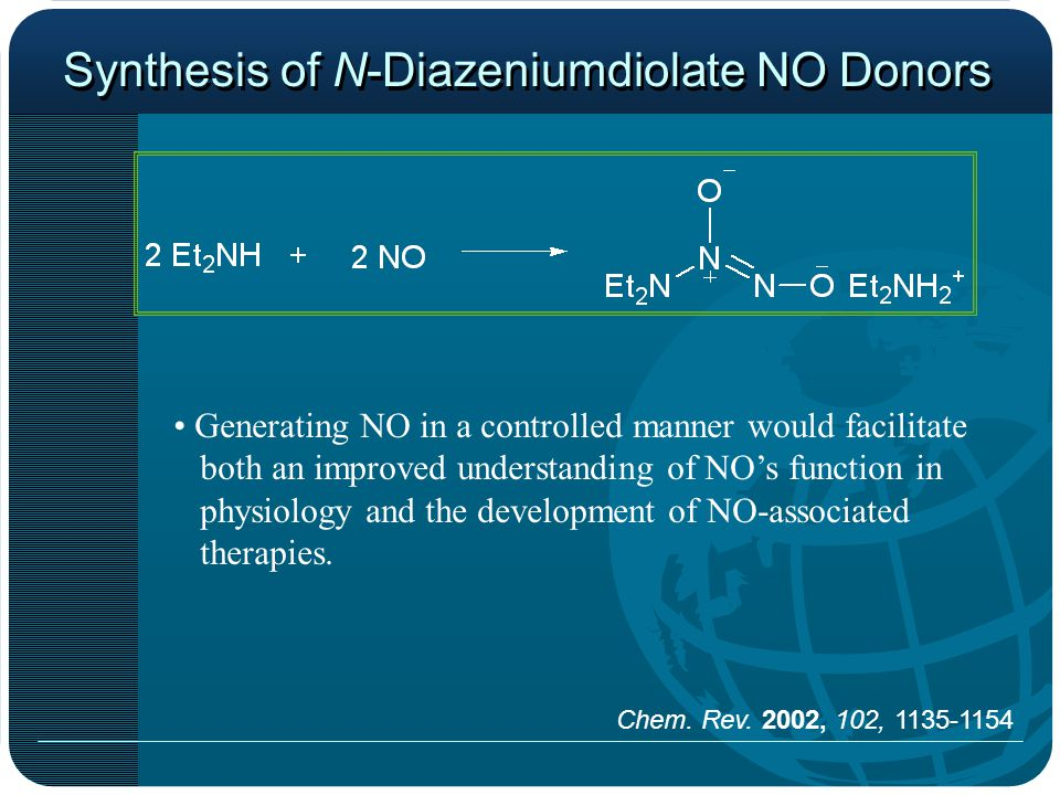 Synthesis of N-Diazeniumdiolate NO Donors Generating NO in a controlled manner would facilitate both an improved understanding of NOs function in physiology and the development of NO-associated therapies.