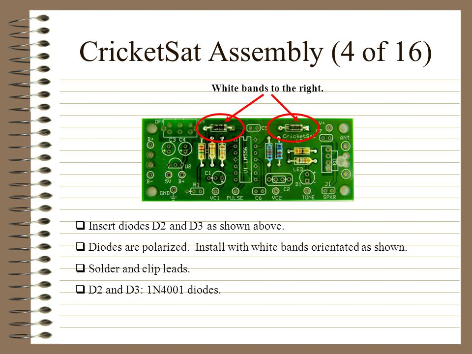 CricketSat Assembly (4 of 16) Insert diodes D2 and D3 as shown above.
