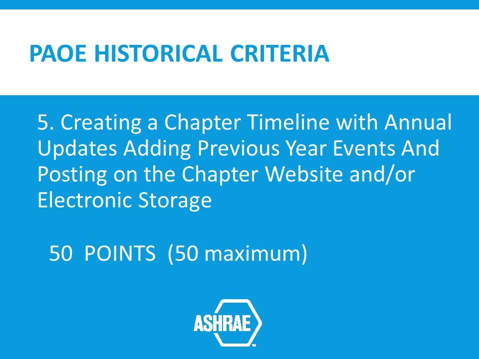 PAOE HISTORICAL CRITERIA 5.