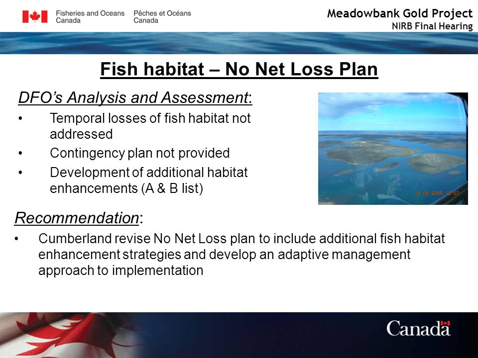 Fish habitat – No Net Loss Plan Meadowbank Gold Project NIRB Final Hearing DFOs Analysis and Assessment: Temporal losses of fish habitat not addressed Contingency plan not provided Development of additional habitat enhancements (A & B list) Recommendation: Cumberland revise No Net Loss plan to include additional fish habitat enhancement strategies and develop an adaptive management approach to implementation