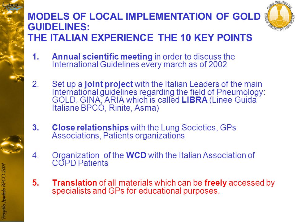 1.Annual scientific meeting in order to discuss the International Guidelines every march as of 2002 2.Set up a joint project with the Italian Leaders of the main International guidelines regarding the field of Pneumology: GOLD, GINA, ARIA which is called LIBRA (Linee Guida Italiane BPCO, Rinite, Asma) 3.Close relationships with the Lung Societies, GPs Associations, Patients organizations 4.Organization of the WCD with the Italian Association of COPD Patients 5.Translation of all materials which can be freely accessed by specialists and GPs for educational purposes.