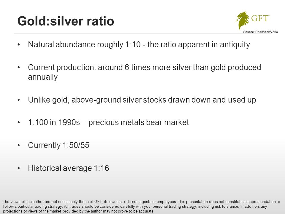 Gold:silver ratio The views of the author are not necessarily those of GFT, its owners, officers, agents or employees.