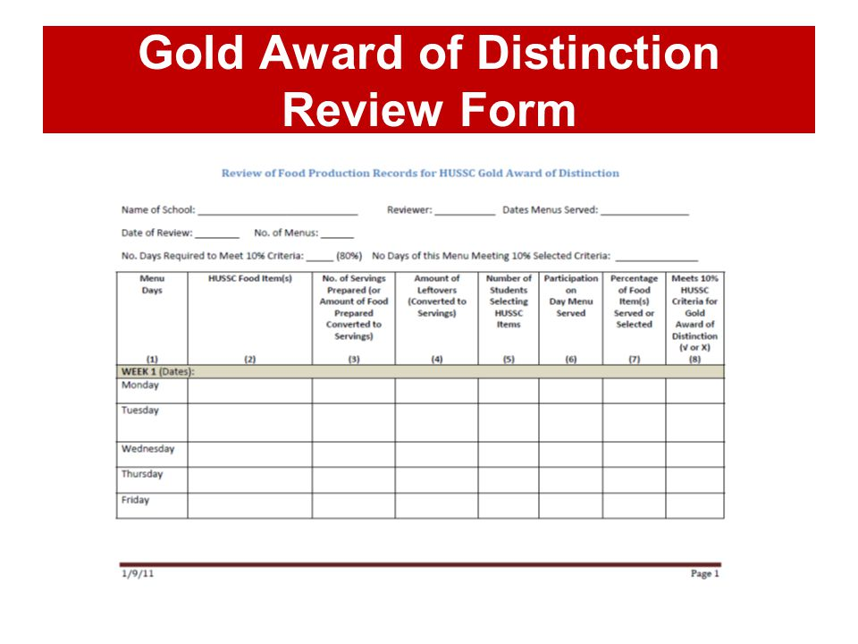 Gold Award of Distinction Review Form