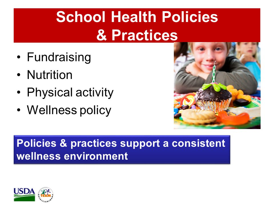School Health Policies & Practices Fundraising Nutrition Physical activity Wellness policy Policies & practices support a consistent wellness environment Policies & practices support a consistent wellness environment