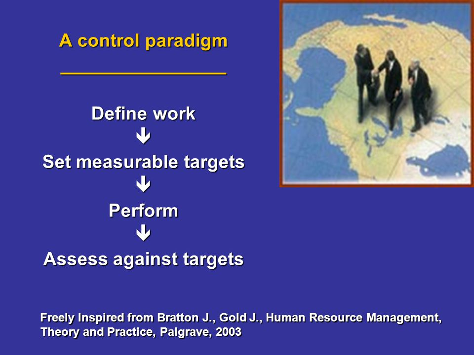 A control paradigm ________________ Define work Set measurable targets Perform Assess against targets Freely Inspired from Bratton J., Gold J., Human