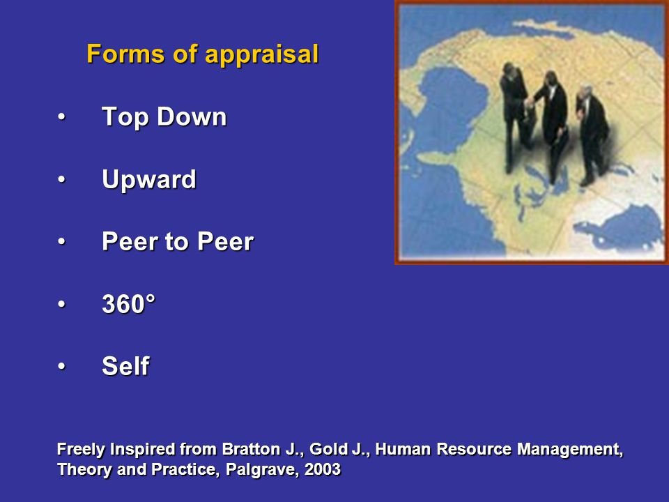 Forms of appraisal Top DownTop Down UpwardUpward Peer to PeerPeer to Peer 360°360° SelfSelf Freely Inspired from Bratton J., Gold J., Human Resource M