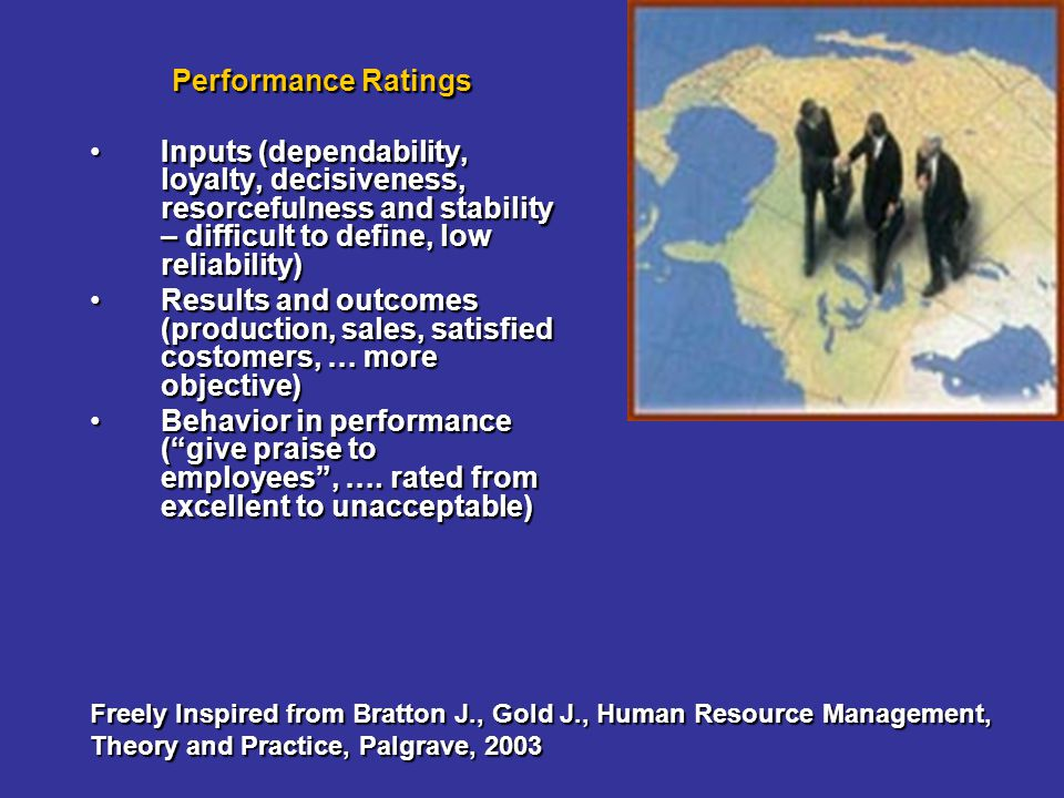 Performance Ratings Inputs (dependability, loyalty, decisiveness, resorcefulness and stability – difficult to define, low reliability)Inputs (dependab