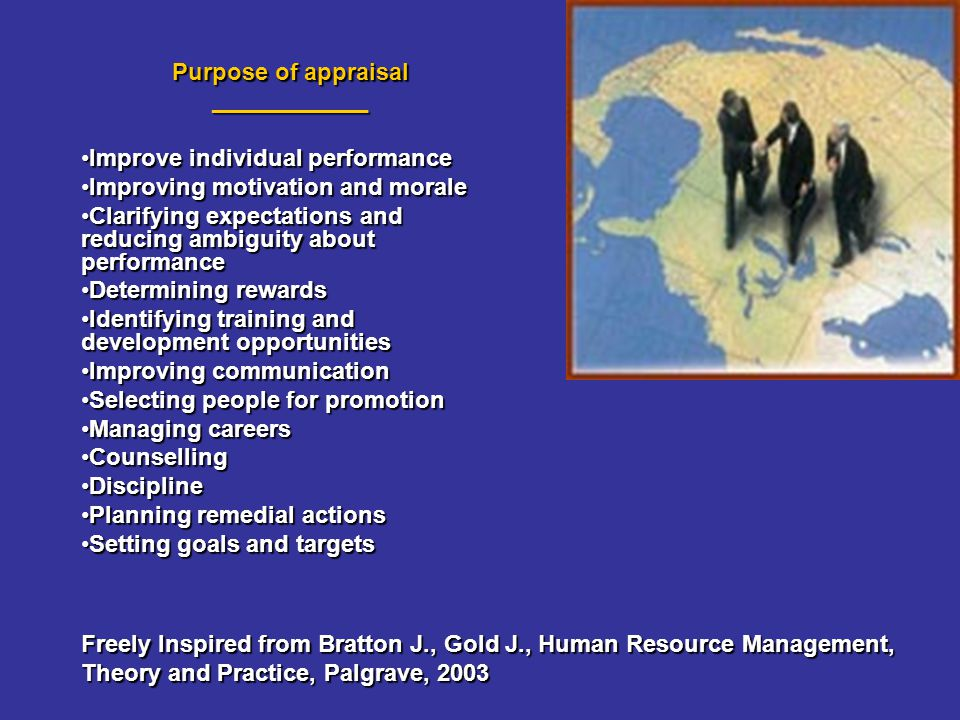 Purpose of appraisal ____________ Improve individual performanceImprove individual performance Improving motivation and moraleImproving motivation and