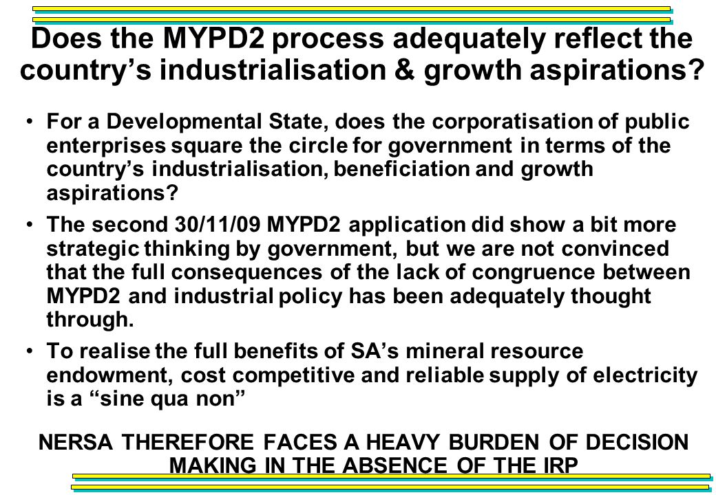 Does the MYPD2 process adequately reflect the countrys industrialisation & growth aspirations.