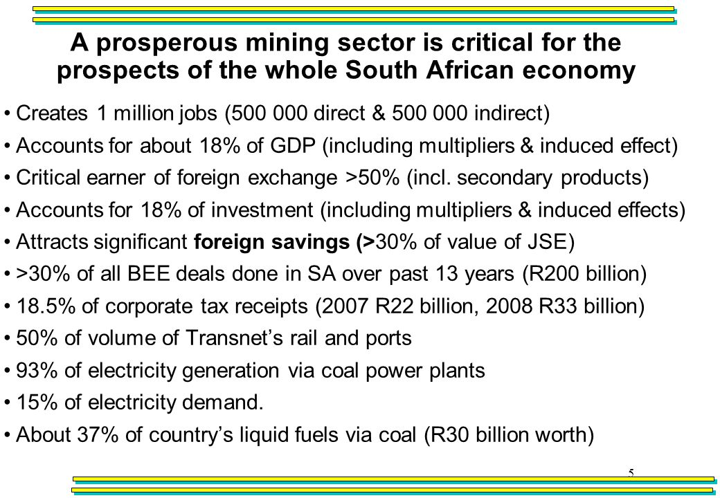 A prosperous mining sector is critical for the prospects of the whole South African economy 5 Creates 1 million jobs (500 000 direct & 500 000 indirect) Accounts for about 18% of GDP (including multipliers & induced effect) Critical earner of foreign exchange >50% (incl.