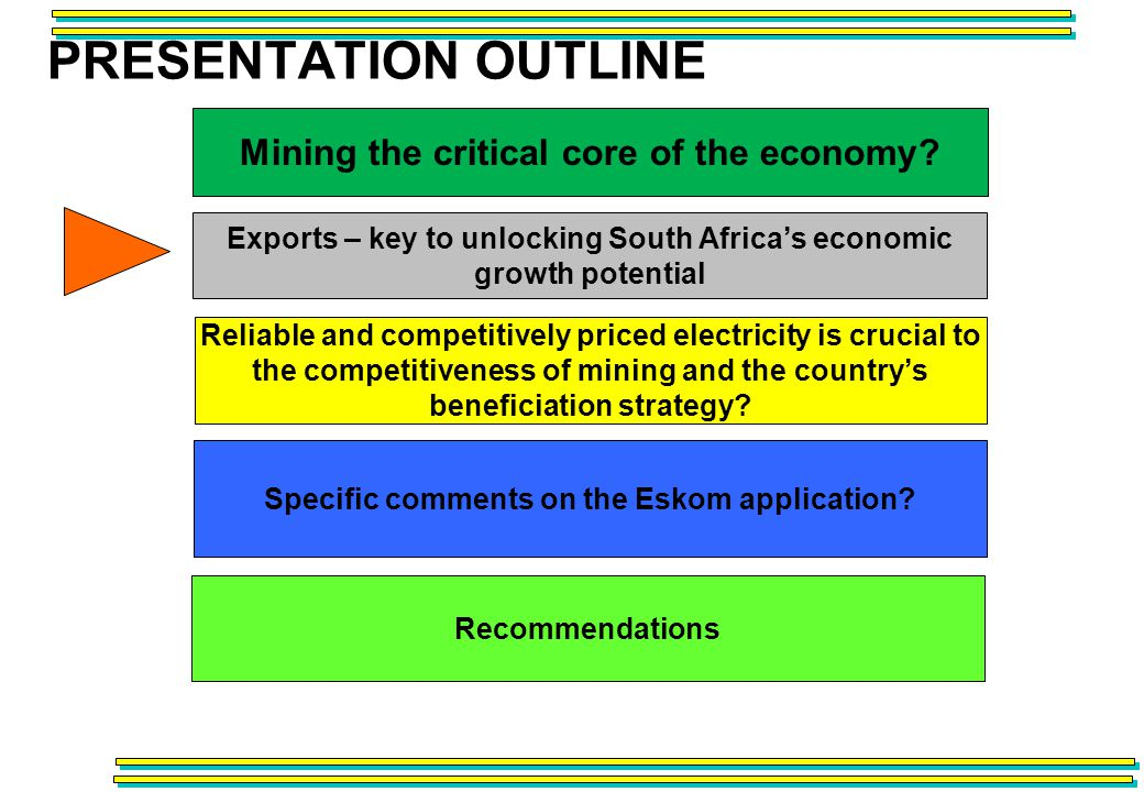 PRESENTATION OUTLINE Recommendations Reliable and competitively priced electricity is crucial to the competitiveness of mining and the countrys beneficiation strategy.