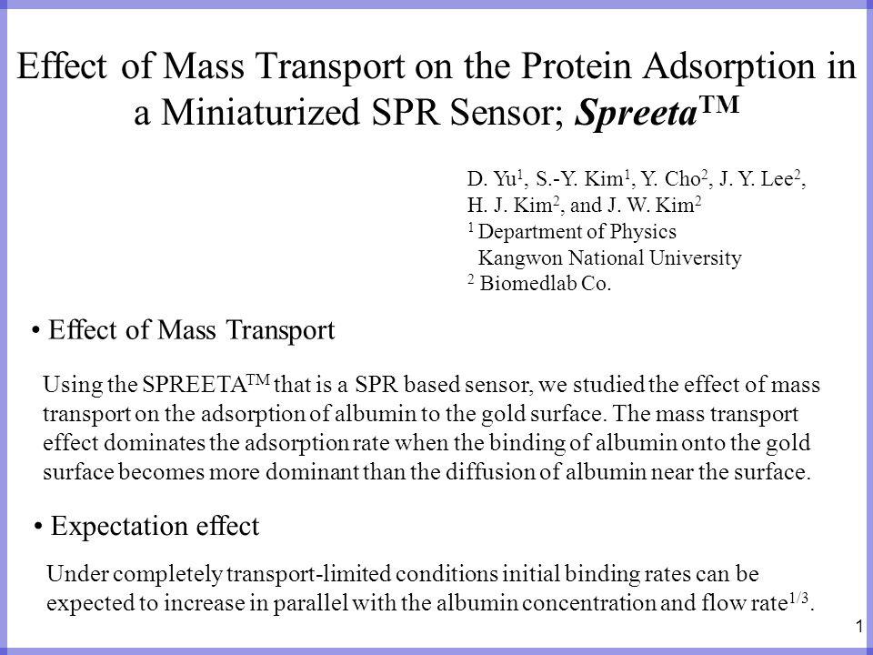1 Effect of Mass Transport on the Protein Adsorption in a Miniaturized SPR Sensor; Spreeta TM D. Yu 1, S.-Y. Kim 1, Y. Cho 2, J. Y. Lee 2, H. J. Kim 2