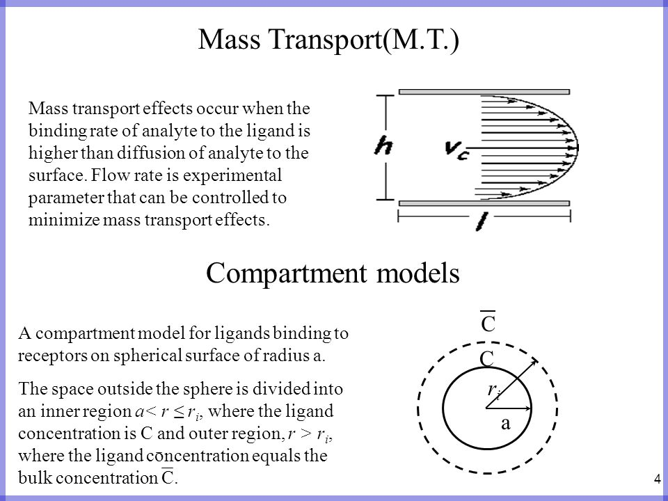 4 Mass Transport(M.T.) Mass transport effects occur when the binding rate of analyte to the ligand is higher than diffusion of analyte to the surface.
