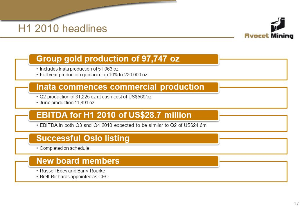 Includes Inata production of 51,063 oz Full year production guidance up 10% to 220,000 oz Group gold production of 97,747 oz Q2 production of 31,225 o