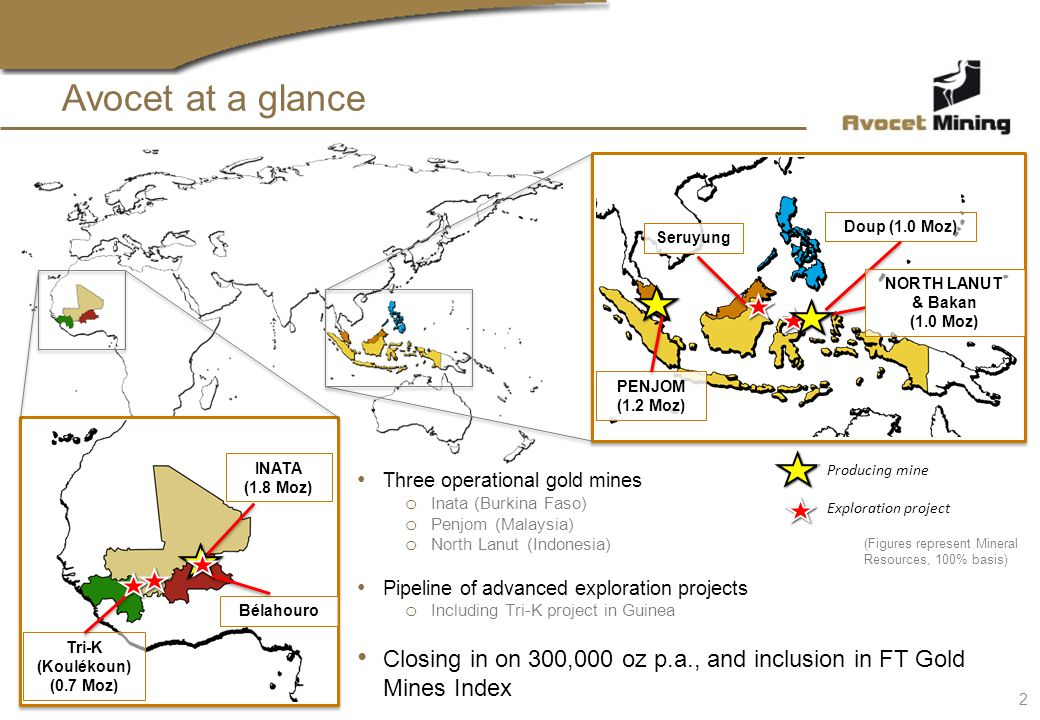 Avocet at a glance Three operational gold mines o Inata (Burkina Faso) o Penjom (Malaysia) o North Lanut (Indonesia) Pipeline of advanced exploration