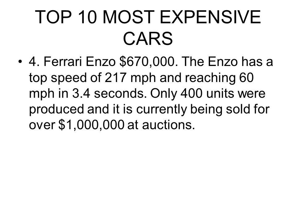 TOP 10 MOST EXPENSIVE CARS 4.Ferrari Enzo $670,000.