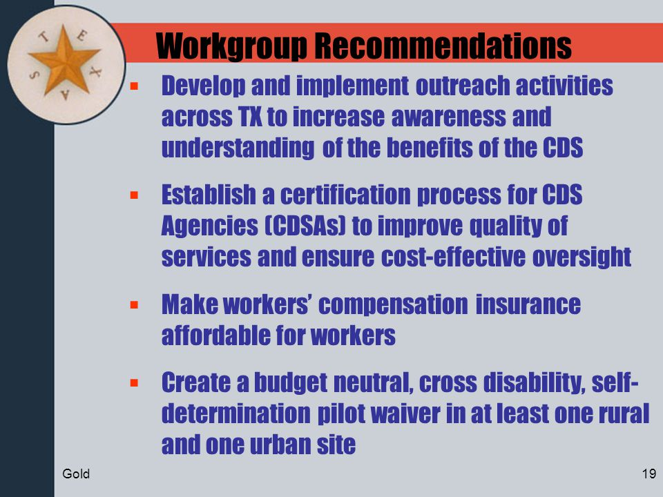 Workgroup Recommendations Develop and implement outreach activities across TX to increase awareness and understanding of the benefits of the CDS Estab