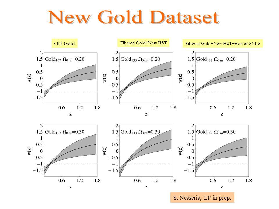 Old Gold Filtered Gold+New HST Filtered Gold+New HST+Best of SNLS S. Nesseris, LP in prep.