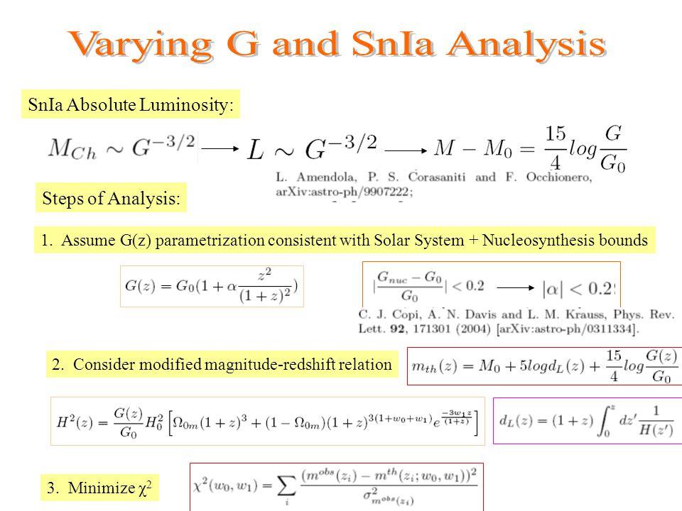 SnIa Absolute Luminosity: Steps of Analysis: 1.