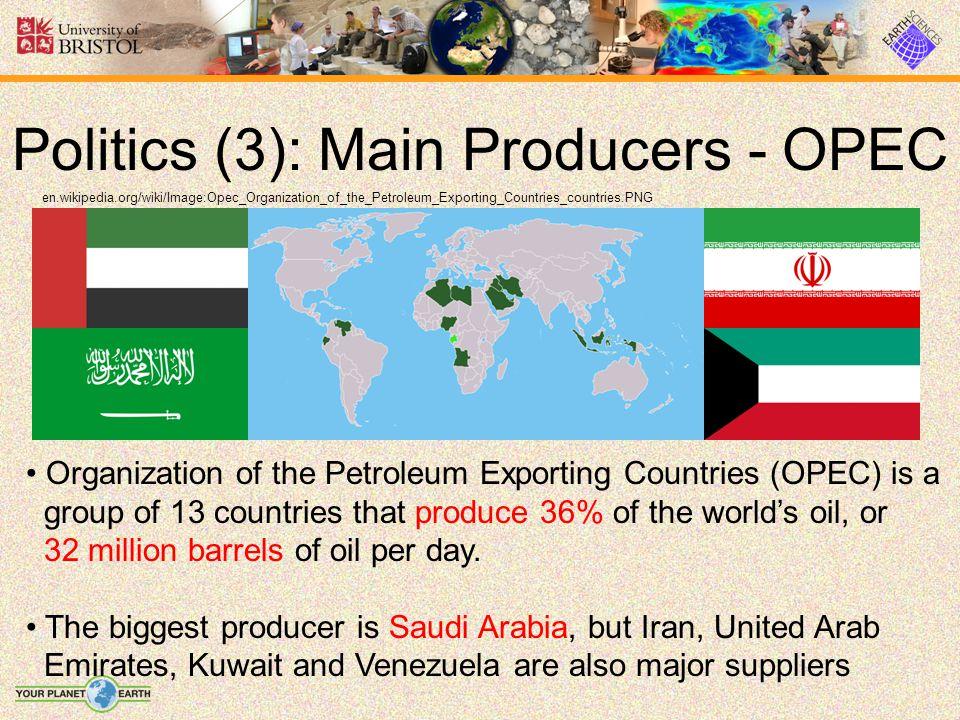 Politics (3): Main Producers - OPEC en.wikipedia.org/wiki/Image:Opec_Organization_of_the_Petroleum_Exporting_Countries_countries.PNG Organization of t