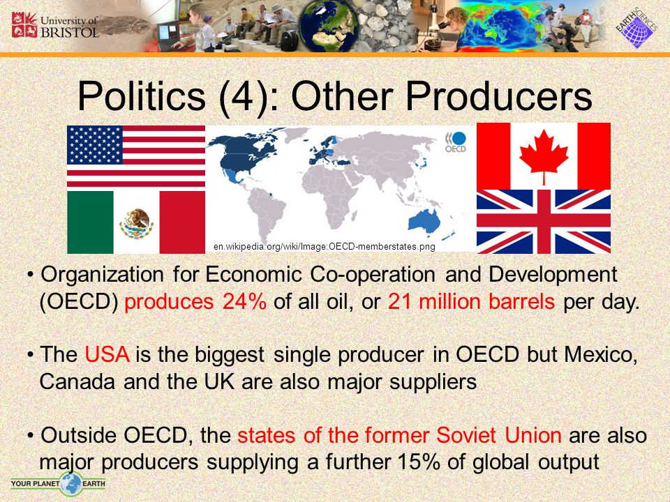 Politics (4): Other Producers Organization for Economic Co-operation and Development (OECD) produces 24% of all oil, or 21 million barrels per day. Th