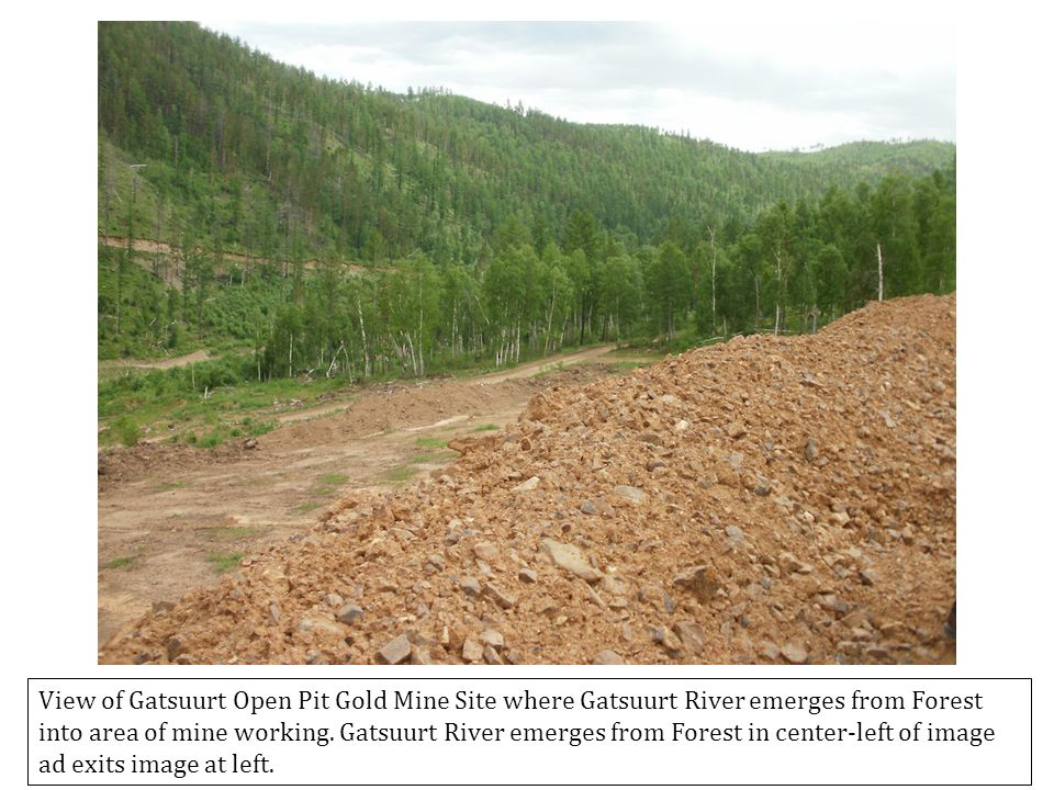 View of Gatsuurt Open Pit Gold Mine Site where Gatsuurt River emerges from Forest into area of mine working.