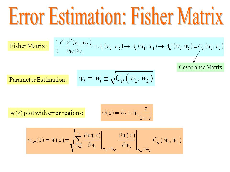 Fisher Matrix: Covariance Matrix Parameter Estimation: w(z) plot with error regions: