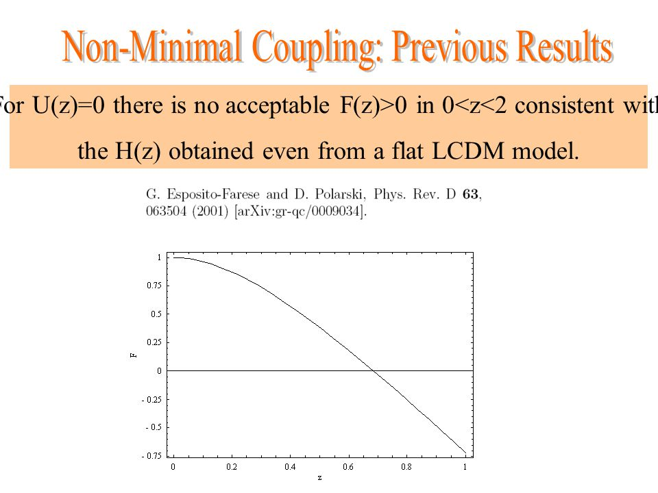 For U(z)=0 there is no acceptable F(z)>0 in 0<z<2 consistent with the H(z) obtained even from a flat LCDM model.