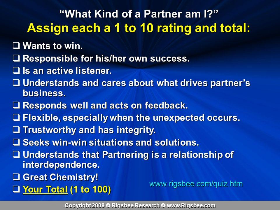 Copyright 2008 Rigsbee Research www.Rigsbee.com What Kind of a Partner am I.