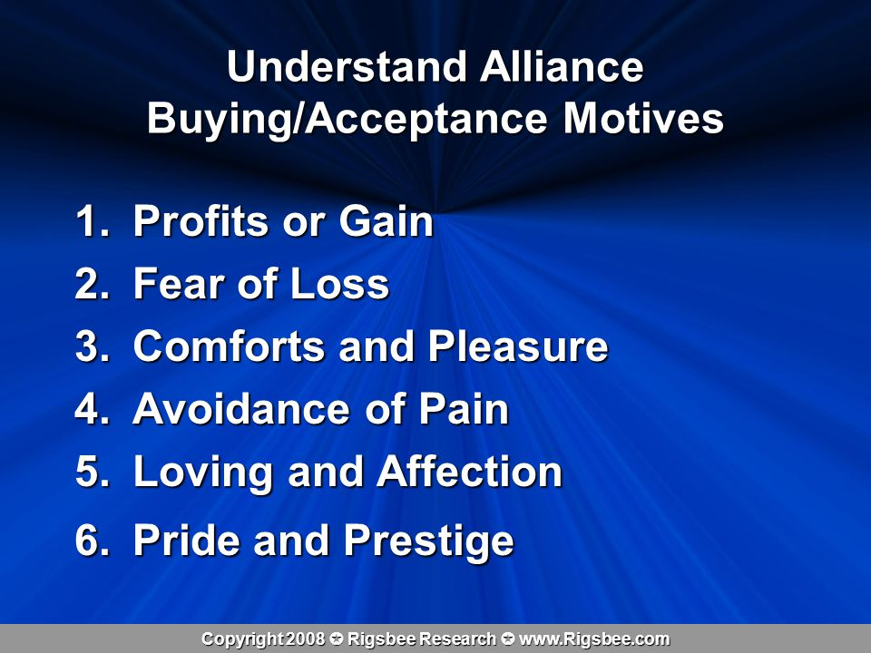 Copyright 2008 Rigsbee Research www.Rigsbee.com Understand Alliance Buying/Acceptance Motives 1.Profits or Gain 2.Fear of Loss 3.Comforts and Pleasure 4.Avoidance of Pain 5.Loving and Affection 6.Pride and Prestige