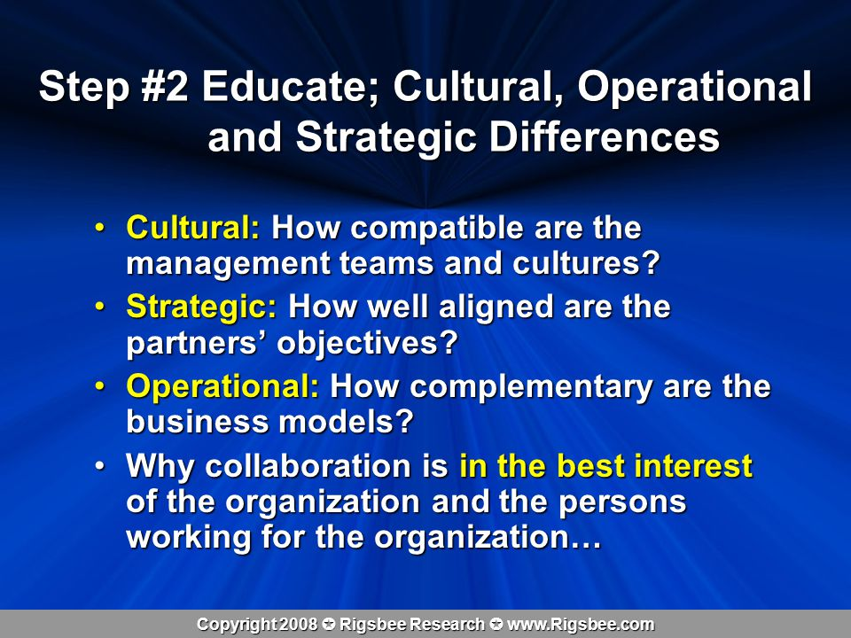 Copyright 2008 Rigsbee Research www.Rigsbee.com Step #2 Educate; Cultural, Operational and Strategic Differences Cultural: How compatible are the management teams and cultures Cultural: How compatible are the management teams and cultures.