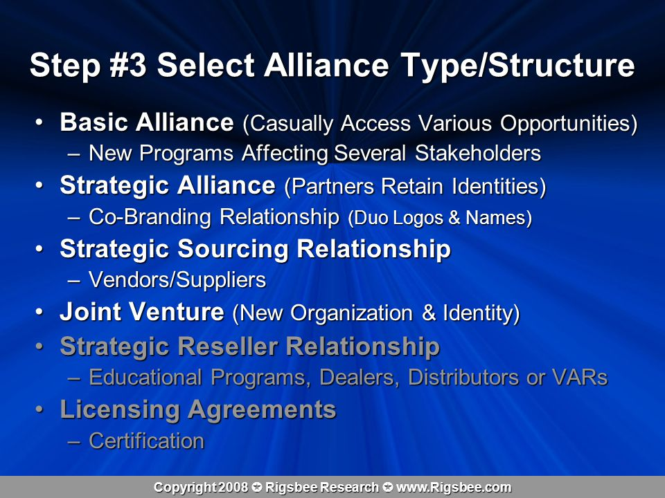 Copyright 2008 Rigsbee Research www.Rigsbee.com Step #4 Organize: Partner Due Diligence Alliance, JV, Strategic Sourcing Agreement Offering Partner Accepting Partner Research: Suppliers, Stakeholders, Departmental Silos, Internet, Through SWOT Alliance Offer Counter Offer Research: Suppliers, Stakeholders, Departmental Silos, Internet, Through SWOT