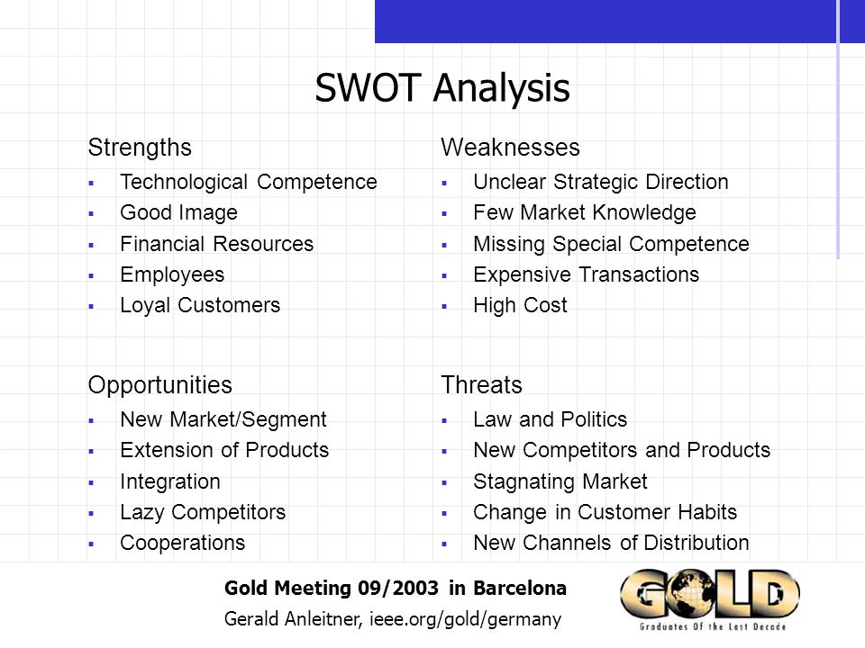 Gold Meeting 09/2003 in Barcelona Gerald Anleitner, ieee.org/gold/germany SWOT Analysis StrengthsWeaknesses OpportunitiesThreats Technological Competence Good Image Financial Resources Employees Loyal Customers Unclear Strategic Direction Few Market Knowledge Missing Special Competence Expensive Transactions High Cost New Market/Segment Extension of Products Integration Lazy Competitors Cooperations Law and Politics New Competitors and Products Stagnating Market Change in Customer Habits New Channels of Distribution