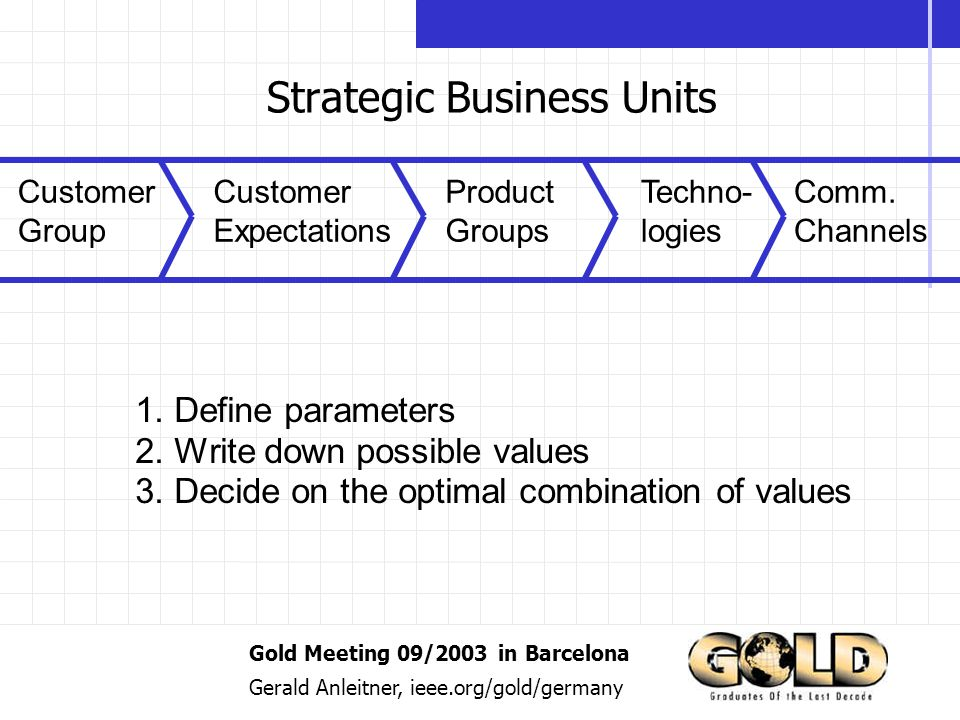 Gold Meeting 09/2003 in Barcelona Gerald Anleitner, ieee.org/gold/germany Strategic Business Units Customer Group Customer Expectations Product Groups Techno- logies Comm.
