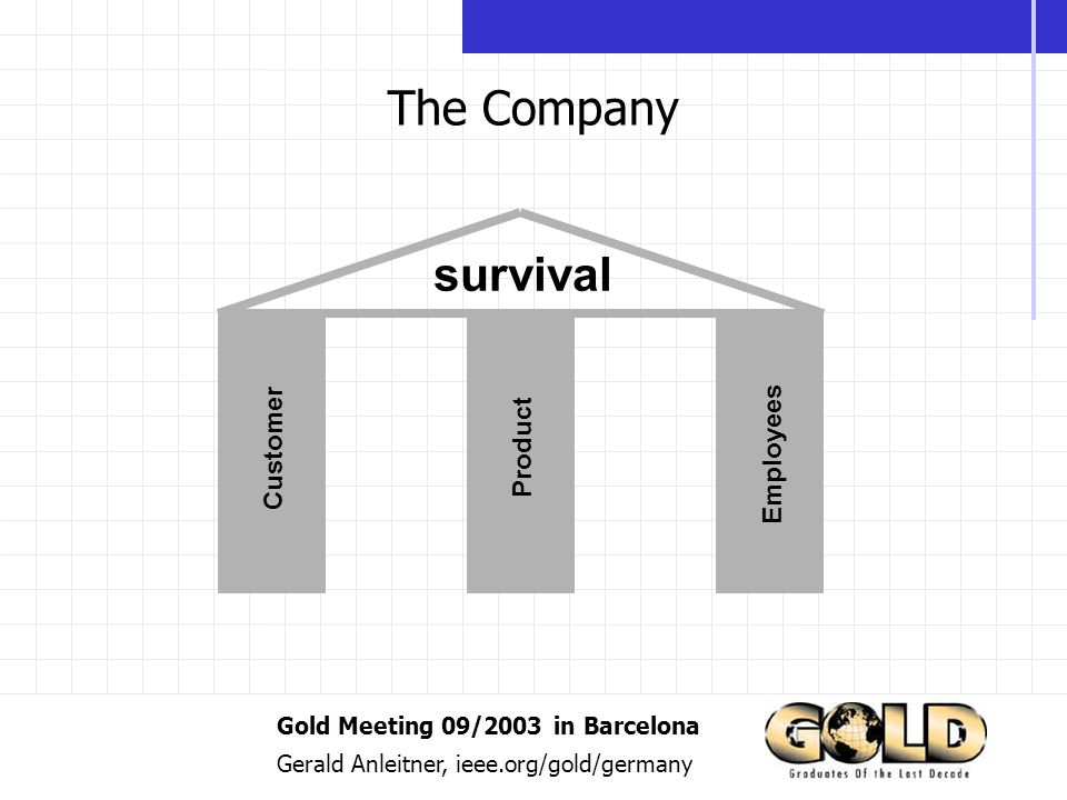 Gold Meeting 09/2003 in Barcelona Gerald Anleitner, ieee.org/gold/germany The Company Customer Product Employees survival