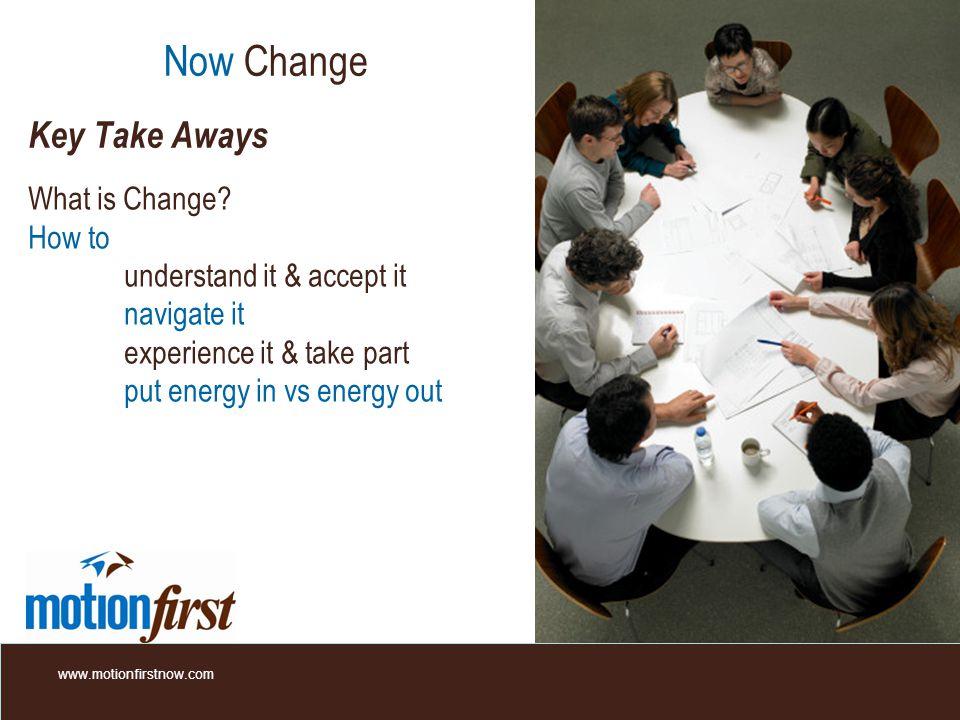 Now Change Key Take Aways What is Change.