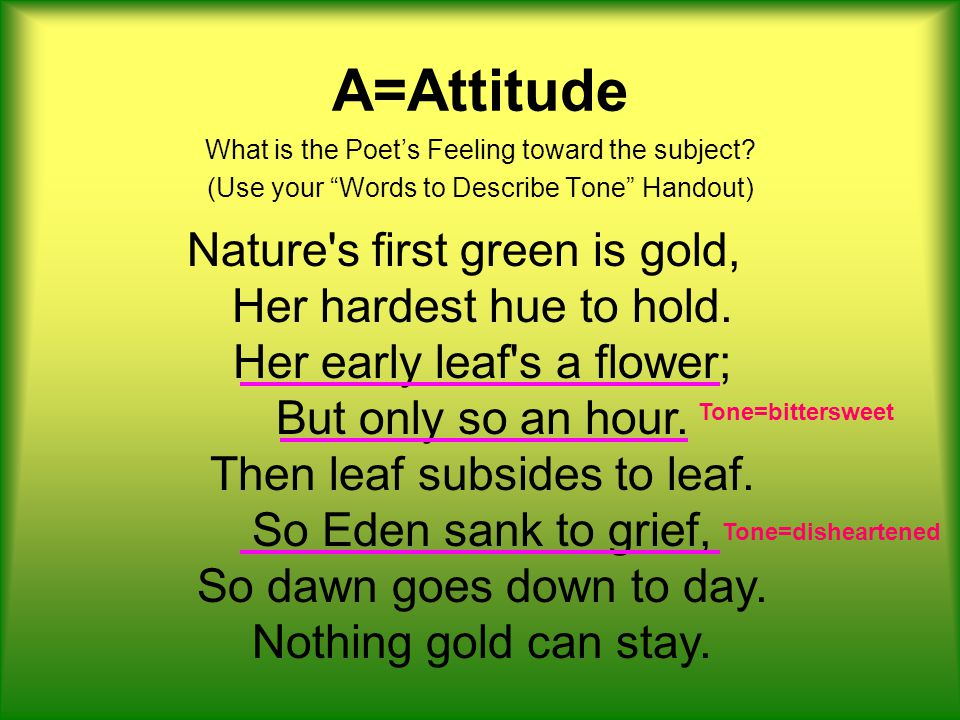 S=Shift Nature s first green is gold, Her hardest hue to hold.