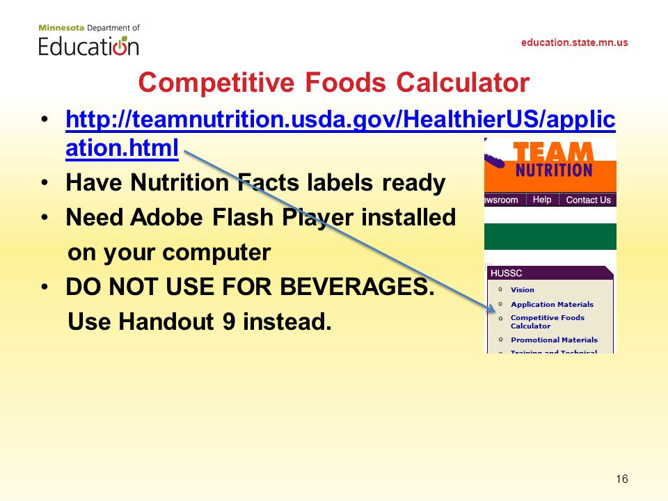 http://teamnutrition.usda.gov/HealthierUS/applic ation.htmlhttp://teamnutrition.usda.gov/HealthierUS/applic ation.html Have Nutrition Facts labels ready Need Adobe Flash Player installed on your computer DO NOT USE FOR BEVERAGES.