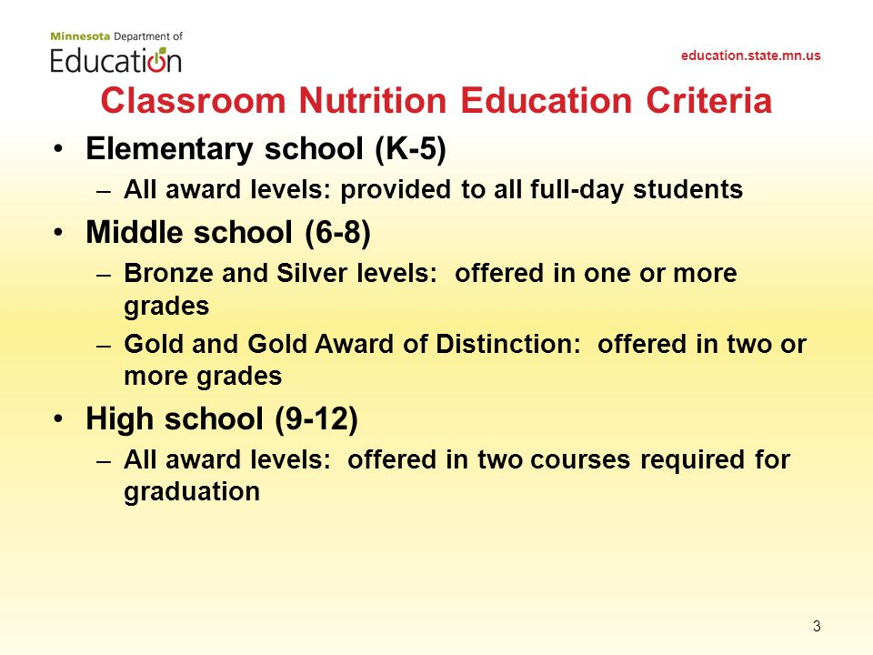 Elementary school (K-5) –All award levels: provided to all full-day students Middle school (6-8) –Bronze and Silver levels: offered in one or more grades –Gold and Gold Award of Distinction: offered in two or more grades High school (9-12) –All award levels: offered in two courses required for graduation Classroom Nutrition Education Criteria education.state.mn.us 3
