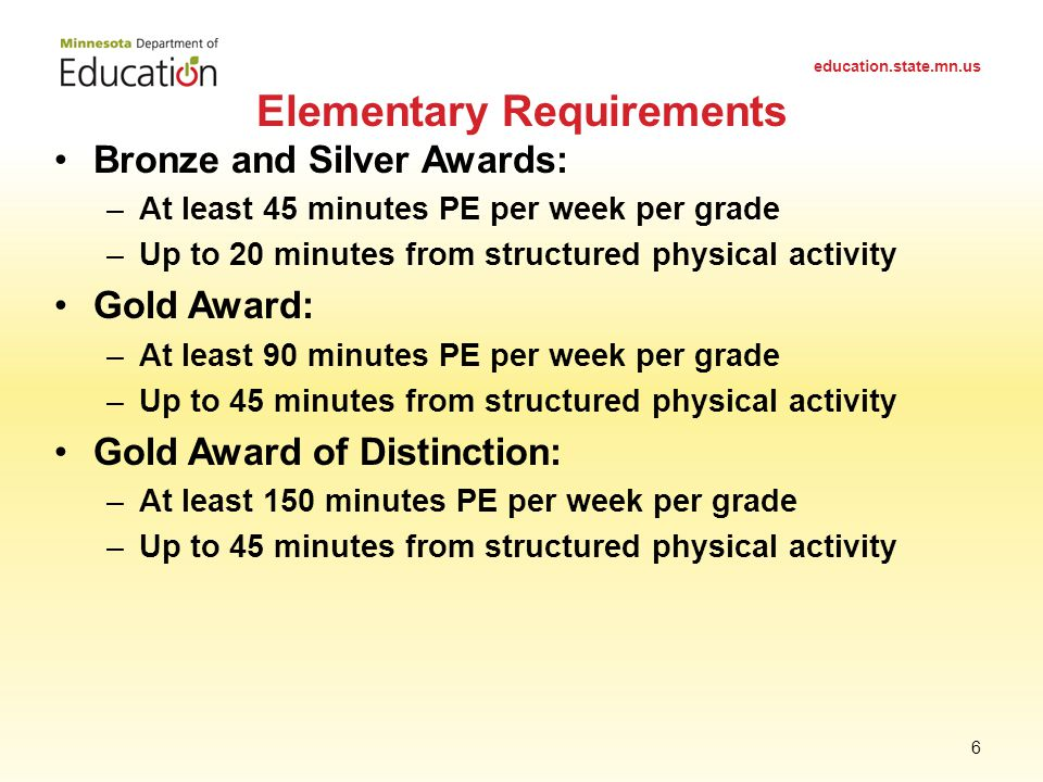 Bronze and Silver Awards: –At least 45 minutes PE per week per grade –Up to 20 minutes from structured physical activity Gold Award: –At least 90 minutes PE per week per grade –Up to 45 minutes from structured physical activity Gold Award of Distinction: –At least 150 minutes PE per week per grade –Up to 45 minutes from structured physical activity Elementary Requirements education.state.mn.us 6
