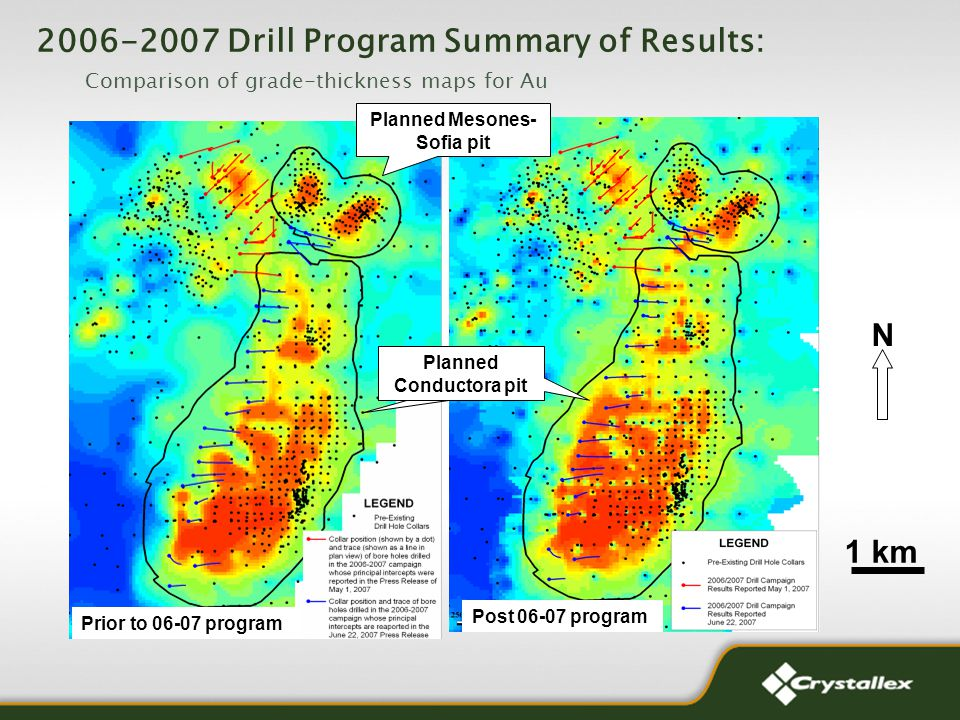 N Prior to 06-07 program 1 km Post 06-07 program Planned Conductora pit Planned Mesones- Sofia pit 2006-2007 Drill Program Summary of Results: Comparison of grade-thickness maps for Au