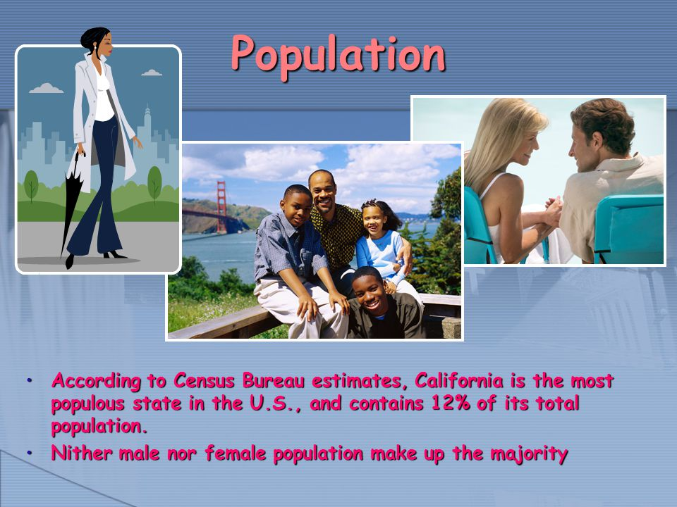 Population According to Census Bureau estimates, California is the most populous state in the U.S., and contains 12% of its total population.According to Census Bureau estimates, California is the most populous state in the U.S., and contains 12% of its total population.